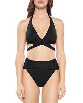 BECCA® by Rebecca Virtue - Color Code Split Halter Bikini Top & Color Code Wrap Front Bikini Bottom