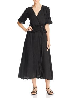 PLACE NATIONALE La Portfeuille Lace-Trim Wrap Dress in Black