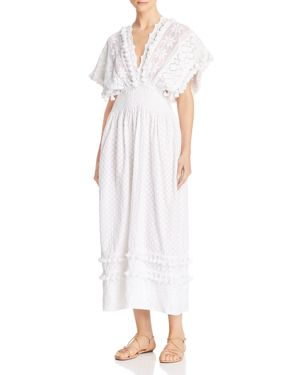 PLACE NATIONALE Sables Embroidered Tie-Back Maxi Dress in White