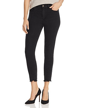 PAIGE | Paige Hoxton Crop Skinny Jeans in Black Cloud Super Distressed | Goxip
