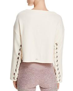 Alo Yoga - Cropped Lace-Up Sweatshirt