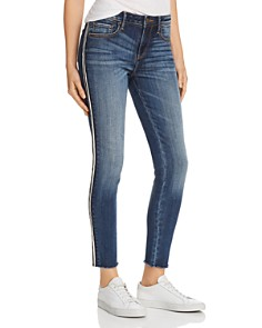 AQUA - Frayed Skinny Jeans in Medium Wash with Black/White Stripe - 100% Exclusive