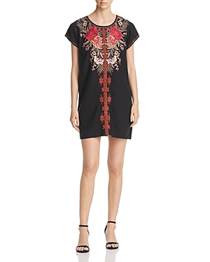 Johnny Was Burke Embroidered Linen Shift Dress