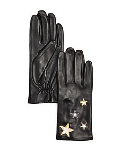 AQUA - Star-Embroidered Leather Tech Gloves - 100% Exclusive