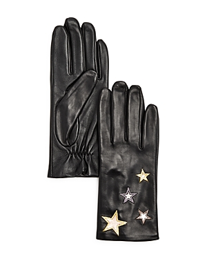 Aqua Star-Embroidered Leather Tech Gloves - 100% Exclusive