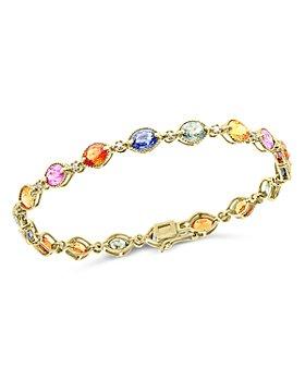 Bloomingdale's - Multi-Sapphire & Diamond Bracelet in 14K Yellow Gold - 100% Exclusive