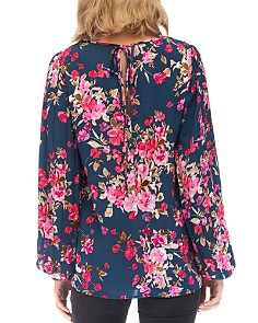 B Collection by Bobeau - Kennie Floral Pleated-Sleeve Blouse