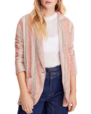 Womens Linen Stripe Sloucy Blazer Simply Be
