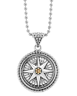 LAGOS - 18K Gold and Sterling Silver Signature Caviar Compass Pendant Ball Chain Necklace, 34""