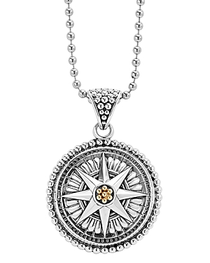 Lagos 18K Gold and Sterling Silver Signature Caviar Compass Pendant Ball Chain Necklace, 34