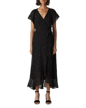 Whistles Heart-Embroidered Wrap Dress