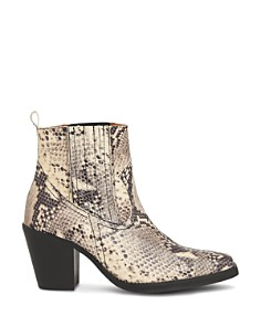 Whistles - Women's Allington Snakeskin-Embossed Leather Mid-Heel Western Booties