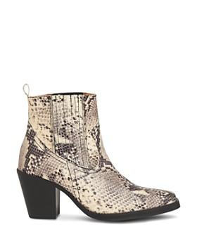 Whistles - Women's Allington Snakeskin-Embossed Leather Mid-Heel Western Booties
