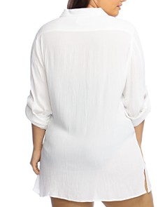 Ralph Lauren - Plus Crinkle Camp Shirt Swim Cover-Up