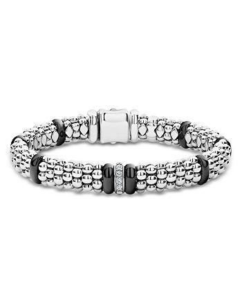 LAGOS - Sterling Silver Black Caviar Rope Bracelet with Diamonds & Black Ceramic