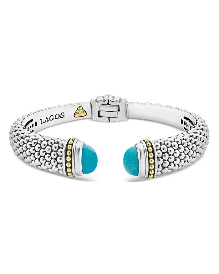 61c4f1289d6 LAGOS - 18K Yellow Gold & Sterling Silver Caviar Color Cuff with Turquoise