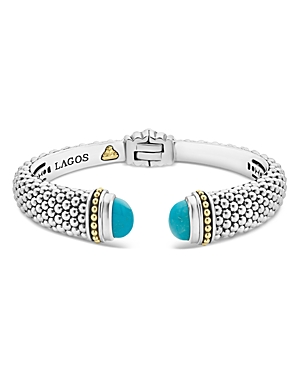 Lagos  18K YELLOW GOLD & STERLING SILVER CAVIAR COLOR CUFF WITH TURQUOISE