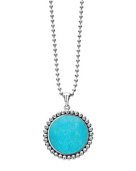 """LAGOS - Sterling Silver Maya Turquoise Pendant Necklace, 34"""""""