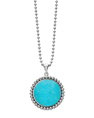Lagos Accessories STERLING SILVER MAYA TURQUOISE PENDANT NECKLACE, 34