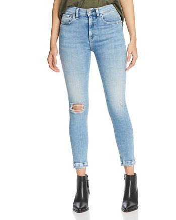 rag & bone/JEAN - High-Rise Distressed Cropped Skinny Jeans in Carson