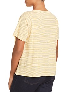 Eileen Fisher Plus - Square-Neck Striped Linen Tee