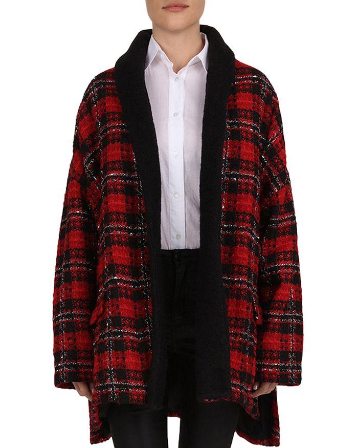 The Kooples - Metallic Plaid Tweed Coat