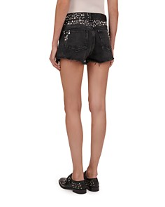The Kooples - Studded Frayed Mini Shorts in Black