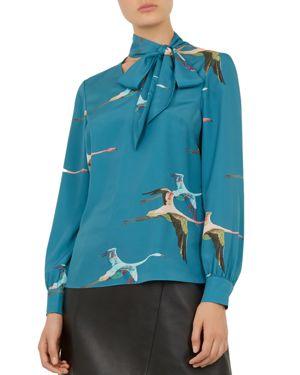Rhetta Crane Flight Tie-Neck Blouse in Teal
