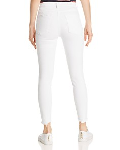 FRAME - Le High Frayed Cropped Skinny Jeans in Blanc Ave - 100% Exclusive