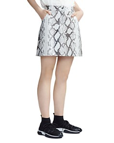 Maje - Jupita Snakeskin Print Leather Skirt