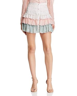 Divine Héritage Skirts TIERED COLOR-BLOCK MINI SKIRT