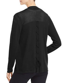 Avec - Mixed-Knit Lace-Up Cardigan