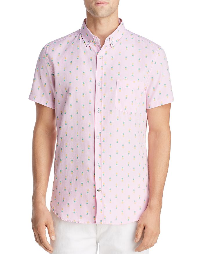 Sovereign Code - Crystal Cove Short-Sleeve Pineapple-Print Regular Fit Button-Down Shirt