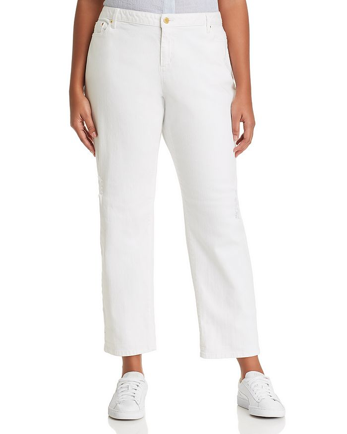 MICHAEL Michael Kors Plus - Distressed Relaxed Straight Jeans in White