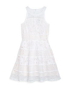 US Angels - Girls' Mixed-Lace Fit-and-Flare Dress - Big Kid