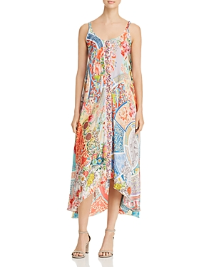 Johnny Was Kara Printed Silk Slip Dress
