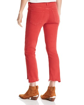 MOTHER - The Insider Frayed Step-Hem Cropped Bootcut Jeans in Hot Rod Red