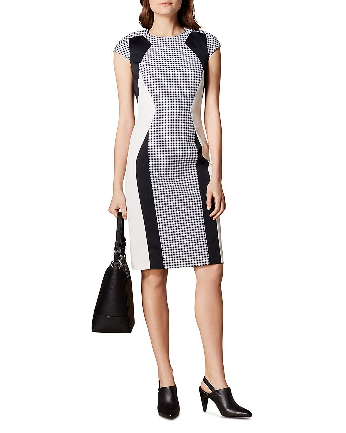KAREN MILLEN - Color-Block Gingham Sheath Dress
