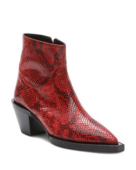 898d7ab765a3 The Kooples - Women s Pointed Toe Python-Embossed Leather Western Booties  ...