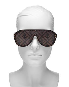 Fendi - Women's Logo-Print Shield Sunglasses, 99mm