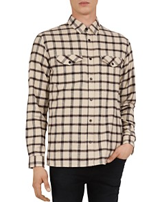 The Kooples - Soft Chocolate Checked Regular Fit Button-Down Shirt