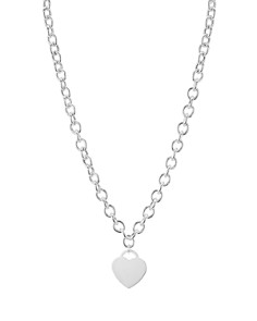 "AQUA - Heart Pendant Link Necklace in Sterling Silver, 16"" - 100% Exclusive"