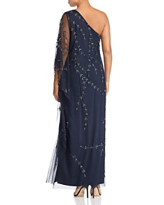 Adrianna Papell Plus - Beaded One-Shoulder Caftan Gown