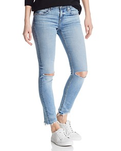 rag & bone/JEAN - Distressed Skinny Ankle Jeans in Halsey w/ Holes
