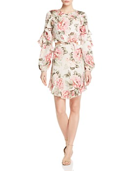 Divine Heritage - Ruffled Floral Cutout Dress
