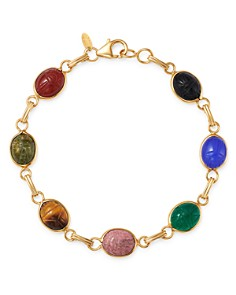 Bloomingdale's - Multi-Stone Scarab Link Bracelet in 14K Yellow Gold - 100% Exclusive