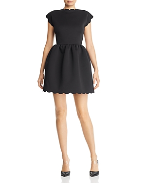 Aqua Scalloped Neoprene Fit-and-Flare Dress - 100% Exclusive