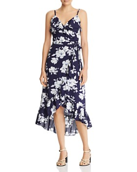 88707ffbe78 AQUA - Ruffled Floral Faux-Wrap Dress - 100% Exclusive ...