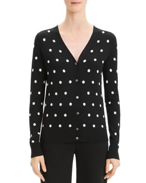Theory Polka-Dot Wool Cardigan