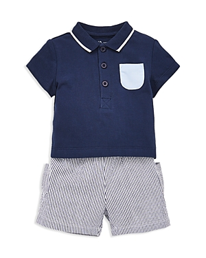 Little Me Boys Polo Shirt  Sailing Shorts Set  Baby